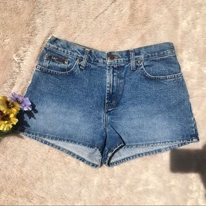 Vintage High Waisted Medium Wash Denim Shorts